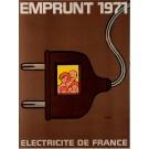"""Original Vintage French Poster Public Loans """"Electricite de France"""" by Savignac"""