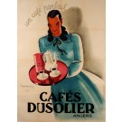 """Original Vintage French Advertising Poster """"Café Dusolier"""" by Leon Dupin 1920's"""