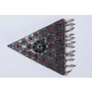 Vintage Bezalel Israel Triangle Ethnic Silver Filigree Pin Brooch Coral Gemstone