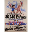 "Original Vintage French Children Poster for ""Secours National"" After G. Bouret ca. 1940"