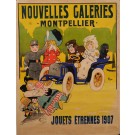 """Original Vintage French Poster Advertising """"Nouvelles Galeries"""" by Thor 1907"""