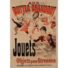 "Original Vintage French Poster for ""Aux Buttes Chaumont"" New Year Gift Shop by Cheret 1886"