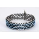 Ethnic Cuff Bracelet Artisan Israeli 935 Silver with Turquoise Stones
