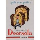 """Original Vintage Italian Poster for """"Panettone Deorsola"""" Aosta Pastry by Pino Barale 1950's"""