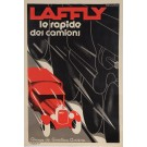 """REPRINT Vintage French Art Deco Poster Advertising """"LAFFLY"""" Trucks by Roggero"""