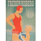 """Original Vintage Danish Art Deco Poster """"Frederiksberg Svomme Hal"""" Pool Bogelund"""