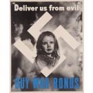 "Original Vintage American WWII Propaganda Poster ""BUY WAR BONDS"" Swastika 1943"