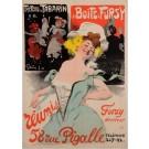 "Original Vintage French Poster ""Treteau de Tabarin Boite a Fursy"" by Grun 1901"