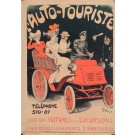 """RARE - Original Vintage French Poster """"L'Auto-Touriste"""" by Grun  - Before 1901"""