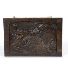 Vintage Wood Plaque Relief Rabbi & Shofar by Boris Schatz Bezalel Jerusalem - SOLD AS IS