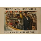 """Original Vintage British Poster """"These Men Use Shell"""" by C. Mozley 1938"""