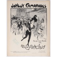 "Original Vintage French """"Joyeux Camarade"" AD. Gauwin Musical Notes by Grun"