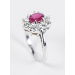 14 Karat White Gold Ring Set with 10 Diamonds 0.50 Carat VS/H-I and 1-2 Carat Oval Ruby  Size 7.5 American