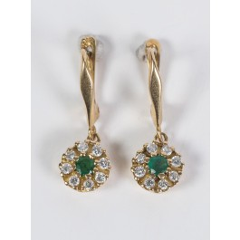 18K Gold Earrings Emerald  & 16 Diamonds 2-3 Points Each