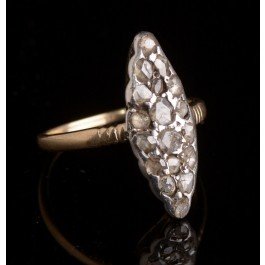 Antique 14k Gold Oval Ring, Set With 18 Rosset Cut Diamonds, Over One Carat. Size 7.75