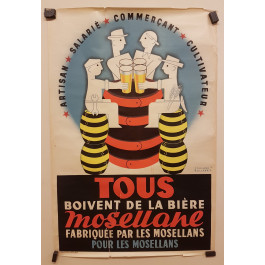 "Original Vintage French Poster ""Mosellane"" Biere by Bollaert 1950"