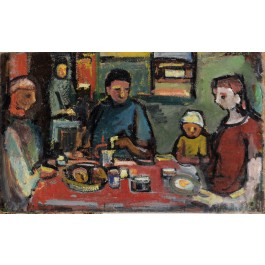 "Aharon Giladi Very Early Painting ""The Family"" Oil on Canvas 80x130 cm Signed Very rare!"