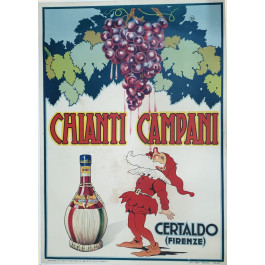 "Original Vintage Italian Alcohol Poster for ""Chianti Campani"" Wine 1955"