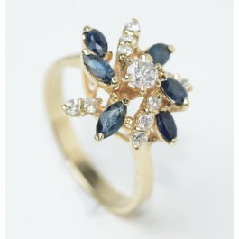 14 Karat Gold Ring Set With Diamonds, Sapphire  Size 7.7