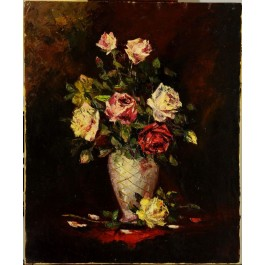 """Oil on canvas on board """"Flower Bouquet"""" by Frutali 935 Signed 60x50 cm"""