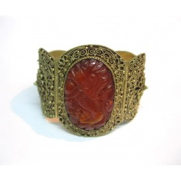 Old Chinese Filigree Gilt Silver Carved probably Red Jade Cuff Bracelet