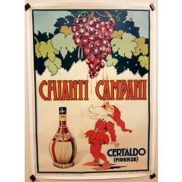 "Original Vintage Italian Alcohol Poster for ""Chianti Campani"" Wine 1955"