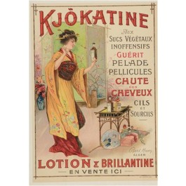 Vintage French Advertising Poster KJOKATINE LOTION & BRILLIANTINE