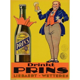 """Belgian Beer Alcohol Ad Poster """"Drinkt PRINS Liebert Wetteren"""""""