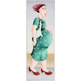 "Original Israeli Art Signed Acrylic ""The Pregnant Women 1"" By Yuval Mahler"