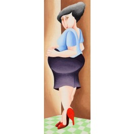 "Original Israeli Art Signed Watercolor ""The Pregnant Women 4"" By Yuval Mahler"