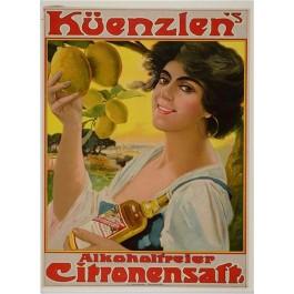 """ORIGINAL German VINTAGE Poster Advertisement """"Kurenzlen's Lemon Juice"""" 1920's"""