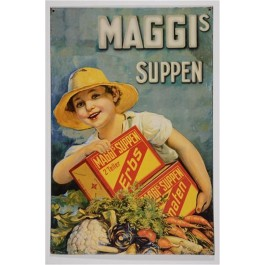 Vintage Old German MAGGI SUPPEN Soup - Hanging Tin Ad
