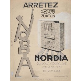 Vintage Advertising French Poster MAQUETTE NORDIA - ARTIST'S VERSION