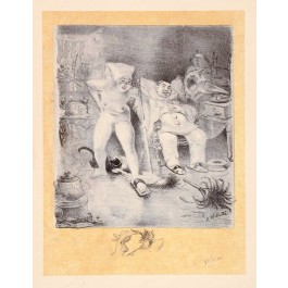 Original French Art Lithograph by Willette Pencil Signed and in the Plate