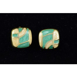 Costume Jewelry Gold-tone with Enamel Clip Earring by Ardan Paris