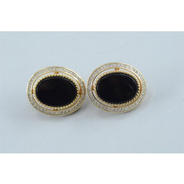 Vintage Oval Gold-plated Onyx PANETTA Earrings Glass Rhinestones