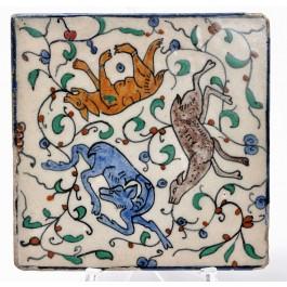 Antique Armenian Ceramic Tile Drawing Animals Palestine 1940's 20X20 cm
