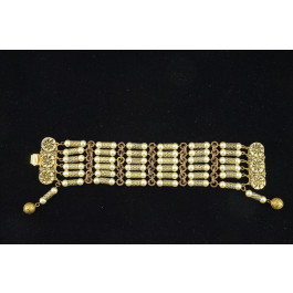 Designers Costume Jewellry Gold Tone Bracelet with Faux Pearls by Freirich
