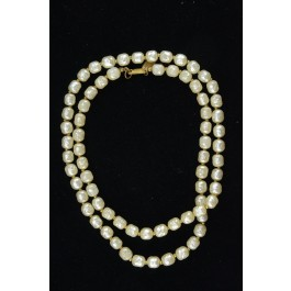 Vintage Fashion Jewellery Glass Faux Pearls Necklace Miriam Haskell 1950's Mad Men Style