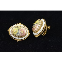 Vintage Miriam Haskell Roccoco Style Floral Gold-tone Earrings