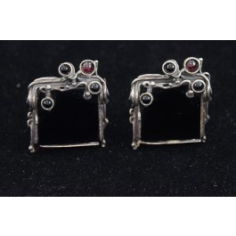 Artisan Ethnic Handmade Israeli 925 Sterling Silver Onyx Clip Earrings