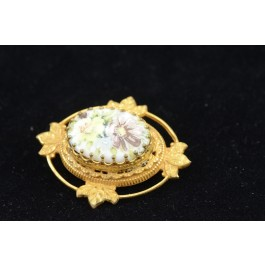 Vintage Miriam Haskell Rococo Style Floral Gold-tone Brooch Pin