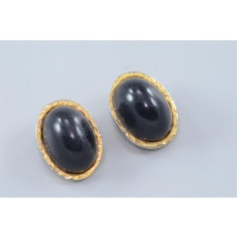Costume Jewellry Kenneth Lane Gold-tone and Faux-onyx Clip Earrings
