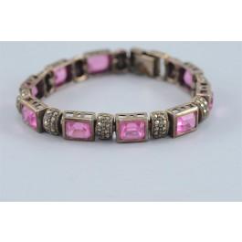 Artisan 925 Sterling Silver Link Bracelet with Pink Rose Quartz