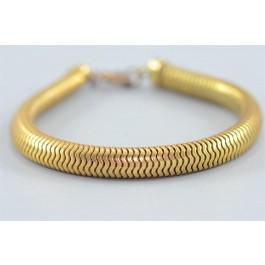 Vintage Costume Jewelry ELEGANT Snake Scale Flexible Gold-tone Bracelet