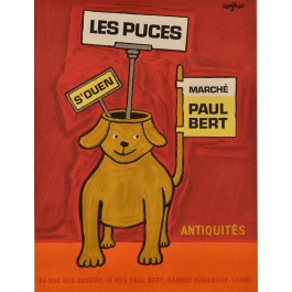 "Original Vintage French Advertising Poster ""Les Puces"" by Savignac"