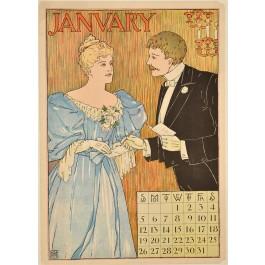 Original Vintage Anglo-Saxon Calendar late 19th Century
