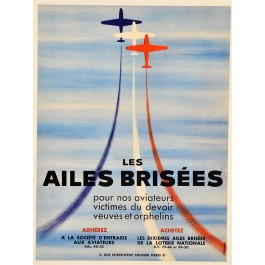 Original Vintage French National Lottery Poster LES AILES BRISEES