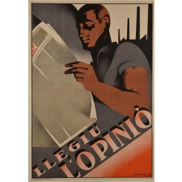 "Original Art Deco Poster Advertising ""Llegiu L'Opinió"" Newspaper by Alvma ca. 1930"