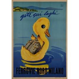 Original Italian Travel Poster Ferrovie Nord Milano (Northern Italian Railways) by C. Dkadi 1950's